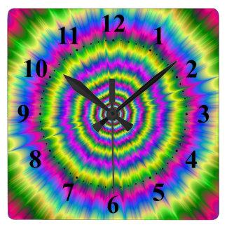 Horloge Carrée Explosion de néon d'horloge murale