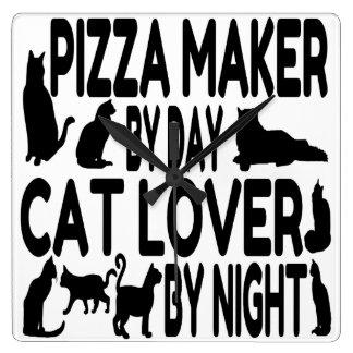 Horloge Carrée Fabricant de pizza d'amoureux des chats
