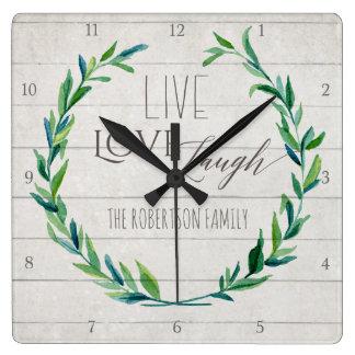 Horloge Carrée Famille rustique en bois de guirlande de feuille
