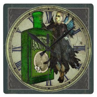 Horloge Carrée Fée d'absinthe - La Fée Verte - la fée verte