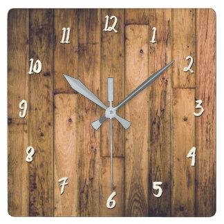 Horloge Carrée Ferme en bois en bois de planches de grange