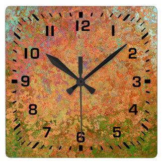 Horloge Carrée Feuille rouillée