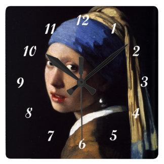 Horloge Carrée Fille de Johannes Vermeer avec une boucle