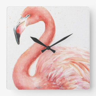 Horloge Carrée Flamant   rose tropical