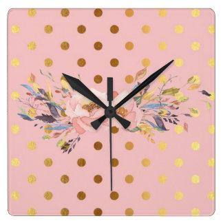 Horloge Carrée Fleurs adorables de pois d'or de Faux