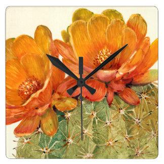 Horloge Carrée Fleurs d'orange de cactus