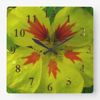 Horloge Carrée fleurs jaunes