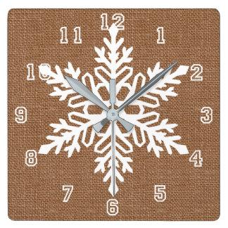 Horloge Carrée Flocon de neige sur Noël de style campagnard de