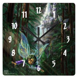 Horloge Carrée Forêt féerique de château