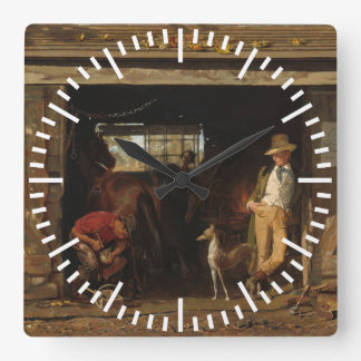 Horloge Carrée Forgeron et cowboy occidentaux sauvages américains