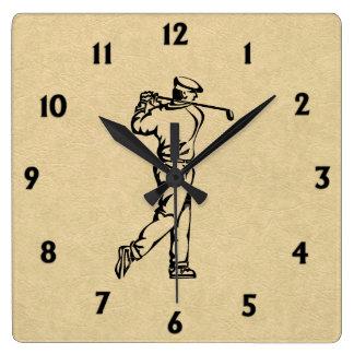 Horloge Carrée Golfeur sur des nombres noirs simili cuir