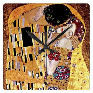 Horloge Carrée Gustav Klimt - le baiser - art vintage Nouveau