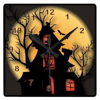 Horloge Carrée Halloween a hanté la Chambre