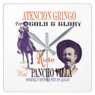 Horloge Carrée Héros de Mexicain du Général Pancho Villa