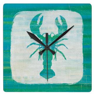 Horloge Carrée Homard côtier d'Aqua de l'art |