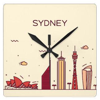 Horloge Carrée Horizon de griffonnage de Sydney, Australie |