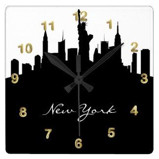 Horloge Carrée Horizon noir et blanc de New York