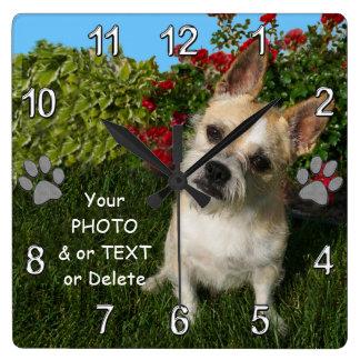 Horloge Carrée Idées de cadeau d'animal familier personnalisées