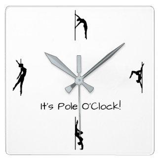 Horloge Carrée Il est temps à la danse de Polonais ! Polonais