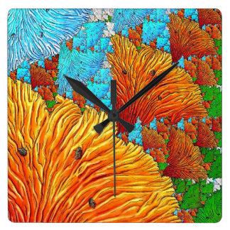 Horloge Carrée Illustration de corail