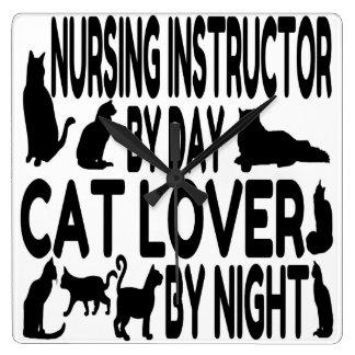 Horloge Carrée Instructeur de soins d'amoureux des chats