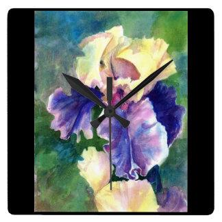Horloge Carrée Iris barbu géant