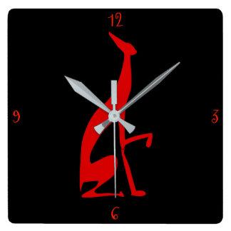 Horloge Carrée Italien de lévrier ma silhouette rouge d'amour de