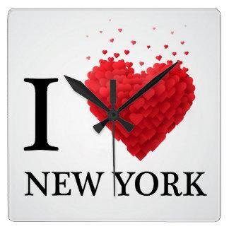 Horloge Carrée J'aime des coeurs de New York