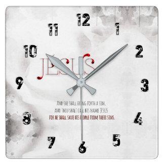 Horloge Carrée JÉSUS est notre SAUVEUR