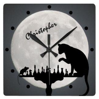 Horloge Carrée Jeu personnalisé de chat et de souris de pleine