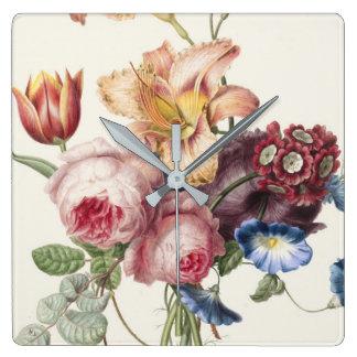 Horloge Carrée Joli bouquet