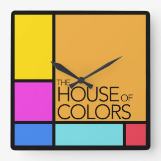 Horloge Carrée La Chambre de l'horloge de couleurs