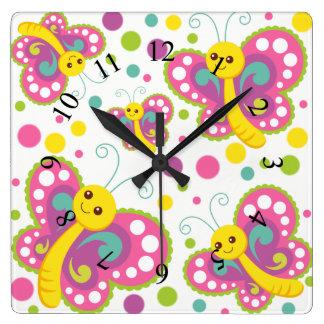 Horloge Carrée La crèche animale mignonne de point de polka de