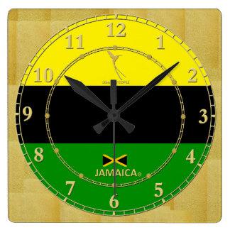 Horloge Carrée La Jamaïque colore la vente moderne de cadeau