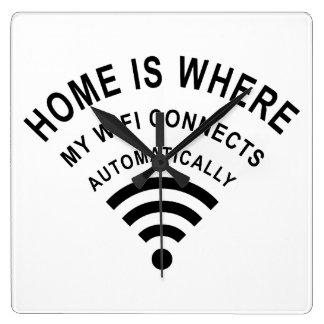 Horloge Carrée La maison est où mon wifi se relie automatiquement