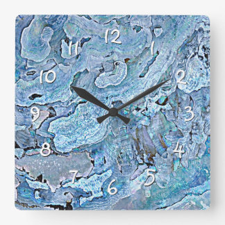Horloge Carrée La mer bleue pourpre chic mignonne Shell de Faux