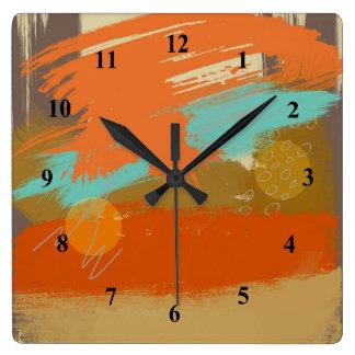 Horloge Carrée La peinture abstraite d'art de paysage entoure des