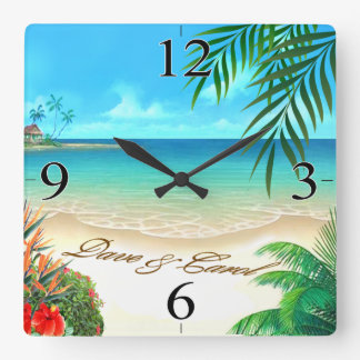 Horloge Carrée La plage exotique de Dave DEMANDENT à 4 VOS NOMS