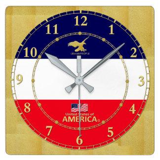 Horloge Carrée L'Amérique colore le cadeau moderne d'horloge