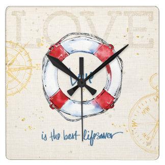 Horloge Carrée L'amour côtier de la citation | est le meilleur