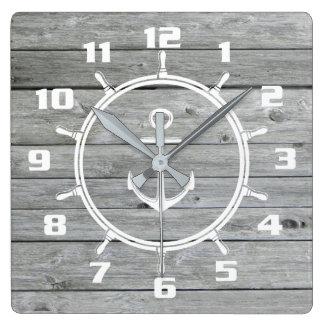 Horloge Carrée L'ancre et le bateau nautiques rustiques roulent