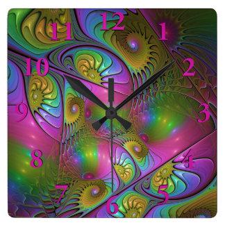 Horloge Carrée L'art abstrait moderne lumineux coloré de fractale