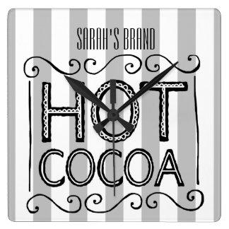 Horloge Carrée Le cacao chaud ajoutent votre nom