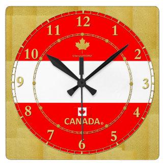 Horloge Carrée Le Canada colore le cadeau moderne d'horloge