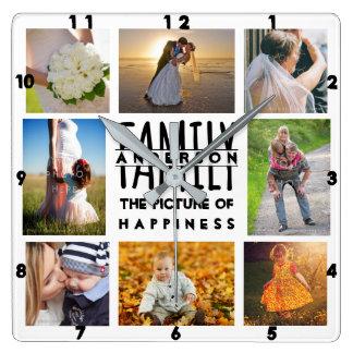 Horloge Carrée Le collage de photo de famille ajoutent l'image 8
