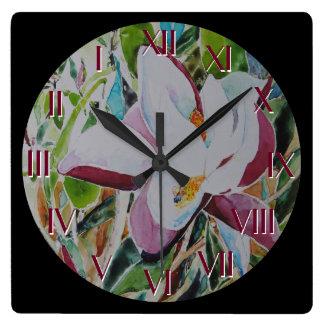 Horloge Carrée Le jardin mystérieux tournent de retour l'horloge