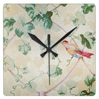 Horloge Carrée le lierre et l'oiseau conçoivent le rétro papier