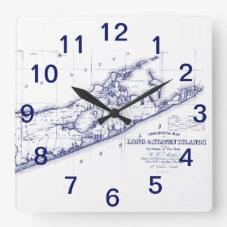 Horloge Carrée Le Long Island la carte VC de Hamptons