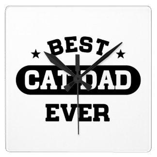 Horloge Carrée Le meilleur papa de chat jamais