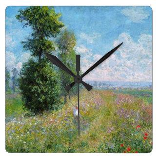 Horloge Carrée Le pré de Monet avec des peupliers sur l'horloge